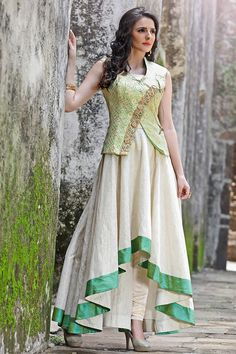 Look extraordinary and fashionable by cladding into this fascinating cream color evening wear designer gown. This designer party wear gown is made from silk fabric and it is embellished with captivating hand work that gives a brilliant look to the outfit.