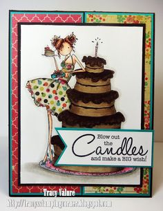 Stamping Bella - Uptown Girl Bianca Loves Her Big Cake Birthday Greetings, Birthday Cards, Birthday Card Design, Big Cakes, Scrapbook Cards, Scrapbooking, Tampons, Cute Cards, Funny Cards