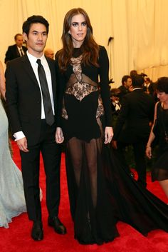 Allison Williams in Altuzarra with the designer at the Met Gala [Photo by Evan Falk]