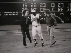 April 8, 1974: Hank Aaron of the Atlanta Braves hit his 715th career home run, breaking Babe Ruth's record of 714 home runs.  We were there that night!!