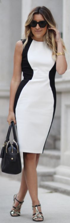 Obakki Black And White Sleeveless Side Panel Sheath Bodycon Midi Dress by Stephanie STERJOVSKI
