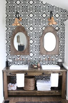 small Bathroom Renovation- How to achieve a farmhouse style bathroom- farmhouse style- bathroom- remodeled bathroom- farmhouse bathroom- cement tile- copper accents- farmhouse style- bathroom update- bathroom reveal- bath Bathroom Renos, Bathroom Renovations, Master Bathroom, Design Bathroom, Bathroom Ideas, Rustic Renovations, Vanity Bathroom, Attic Bathroom, Bathroom Wallpaper