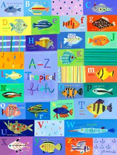 Amazon.com: Oopsy Daisy A-Z Tropical Fish Stretched Canvas Wall Art by Jill Mcdonald, 18 by 24-Inch: Home & Kitchen