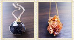 Midnight Sunstone and Peach Aragonite Pendants
