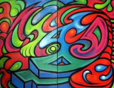 Psychedelic Visionary Urban Trippy Abstract Artwork Painting by HellP Art 2013