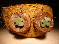 Aventurine Earrings Dangle Earrings Coconut Earrings by GaeaCrafts