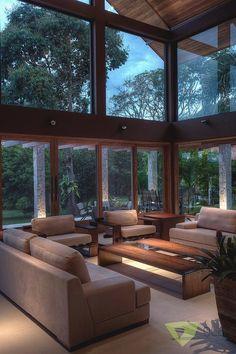 Casa de Campo Quinta do Lago - Tarauata: Salas de estar campestres por Olaa Arquitetos Dream Home Design, Modern House Design, My Dream Home, Home Interior Design, Luxury Interior, Modern Interior, Exterior Design, Interior Decorating, Architecture Design