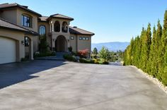 : Stained concrete driveway ideas design with high quality concrete floor sealer