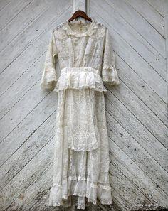 Victorian Prairie Gown with Peplum and Handmade Irish Lace