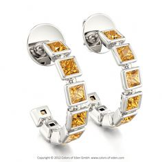 Marcia Earrings with Princess cut Square Citrine stones in 18k White Gold.