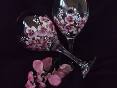 Cherry Blossoms hand painted on A large wine glass
