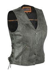 Sharp looking ladies concealed carry gray leather motorcycle vest made from premium distressed gray look cowhide leather. Two inside concealed gun pockets made of special heavy duty textile with built-in holsters and snap closure make this a great vest to securely carry your weapon.