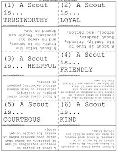 Scout law flashcards