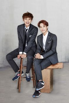 Kai and Chanyeol- Kai doesn't have a tie but he still looks fresh!!