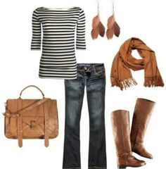 Ridding Boots, black and white striped shirt, brown scarf, brown bag.