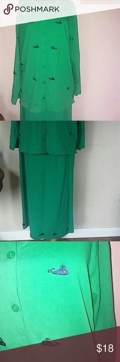 2 piece skirt and jacket/top Green with rhinestones and navy blue whales  Top is large bottom med. BNWOT. the quaker factory Skirts Skirt Sets