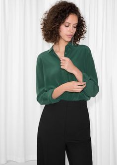 & Other Stories image 2 of Straight Fit Silk Shirt in Dark Green