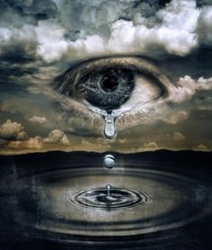 Amazing surreal art. Eye in clouds, teardrops and water.