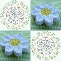 Get Colorful And Best Designs Of Crochet - Diy Crafts Crochet Daisy, Crochet Mandala, Diy Crochet, Crochet Doilies, Crochet Flowers, Doily Rug, Crochet Gifts, Crochet Motif Patterns, Crochet Diagram