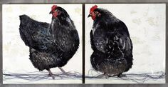 Ebony and Ivory - Encaustic Painting - 2009 Chicken series