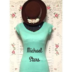 """MICHAEL STARS """"The Original Tee"""" MICHAEL STARS one size fits most classic tee in a luscious green sea foam color. Made of 50% cotton and 50% nylon and is machine washable. Length measures 24.75"""" and fabric is very stretchy but bounces right back into a body con look! Michael Stars Tops"""