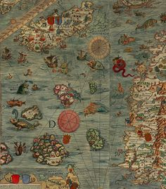 Carta Marina - Century map of the seas with bizarre and ferocious sea monsters Old Maps, Antique Maps, Vintage Maps, Medieval, Free Printable Art, Map Globe, Sea Monsters, Plans, Sea Creatures