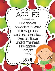 A fun free apple song for kindergarten and Pre K Teaching Thematically To Increase Aca Preschool Apple Theme, Fall Preschool, Preschool Songs, Preschool Class, Preschool Lessons, Kids Songs, Preschool Apples, Preschool Ideas, October Preschool Themes
