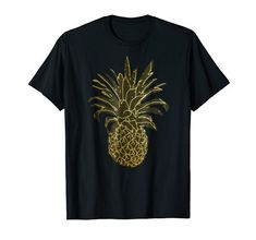 Hawaiian Pineapple Black Gold Party T-Shirt-You will feel cool and rich wearing this uniquely gold & black designed pineapple fashion tshirt! This is a unisex tee, wear it as either casual or dressy to the beach, ocean, on summer vacation, camping, hiking, or tropical Hula parties Women, ladies and girly girls can wear this along with their cute wardrobe. Men can wear this t shirt at their next Hawaiian Tiki party or Luau looking trendy. Black Gold Party, Hawaiian Tiki, Tiki Party, Girly Girls, Hula, Pineapple, Shirt Designs, Hiking, Tropical