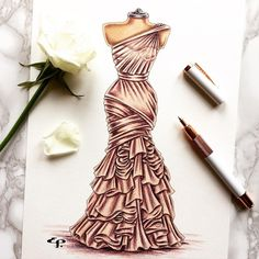 A bit of an old one but I just love this layered chiffon nude tone gown. For custom illustrations come check out my Etsy page using the link in my bio. #fashion #fashionart #fashionista #fashionsketch #fashionillustration #fashionillustrator #illustrator #illustration #dress #dresssketch #draw #drawing #sketch #sketching #pencilsketch #pencil #couture #bride #bridal #bridalgown #bridalillustration #weddinggift #weddingdress #weddingpresent #customillustration #anniversary #anniversarygift…