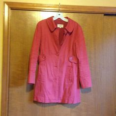 Jacket Cute salmon colored jacket. Made of 98% cotton, 2% spandex. Length is halfway between waist and knees. In great shape! sashimi Jackets & Coats