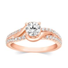 1.15 Ct Round Cut Natural Diamond 14k Rose Gold Solitaire Twist Engagement Ring #CaratsForYou #SolitairewithAccents