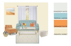 Embrace the end of summer with happy colors like Tropical Lagoon & Orange Slice—balanced with neutrals like Pinapple Sorbet & Raindrop White. Color & décor inspiration via @polyvore