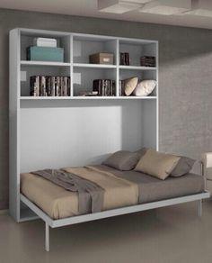 Armoire lit escamotable horizontale 140 x 200 et étagères pieds à retournement automatique - JOY