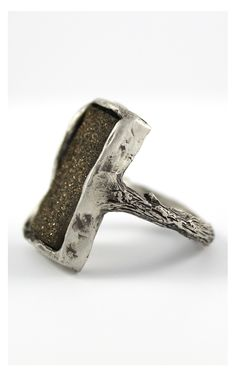 Ring features a dark chocolate brown drusy set in an antiqued silver branch ring. Handcrafted designs by Amanda Hagerman.