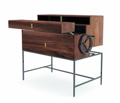 Akrcadabra cabinet / secretary by Lezando Studio (2013). Materials: steel, wood and brass