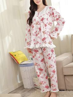 Buy Women's Sleepwear Suit Sweet Floral Ruffles Hem O Neck Comfy Long Pajama Set , more cheap best Women's Sleepwear Suit Sweet Floral Ruffles Hem O Neck Comfy Long Pajama Set are hot sale on NewChic. Stylish Dresses For Girls, Stylish Dress Designs, Frocks For Girls, Night Suit For Girl, Night Dress For Women, Kurti Embroidery Design, Embroidery Suits, Night Gown Dress, Girls Sleepwear