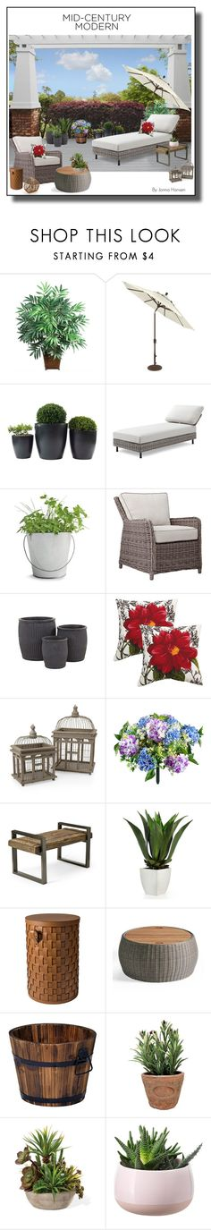 """Clean Spaces: Mid-Century Modern"" by jonna-hansen ❤ liked on Polyvore featuring interior, interiors, interior design, home, home decor, interior decorating, Nearly Natural, Potting Shed Creations, Jayson Home and Plantation Patterns"