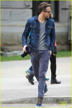 Ryan Reynolds denim jacket dropping by the set Age of Adaline