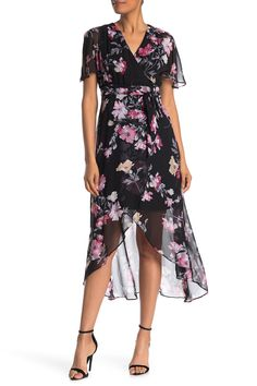 """A colorful floral print adds stand out styling on this breezy high/low dress with a flattering tie finish that is great for your next event. Surplice neck. Short sleeves. Hidden back zip closure. Tie waist. Floral print. High/low midi hem. Approx. 40"""" front length, 50"""" back length (size 2). Imported Country Wedding Guest Dress, Fall Wedding Attire, Plus Size Summer Dresses, Wedding Dress Shopping, Winter Dresses, Vintage Style Outfits, Nordstrom Dresses, Boho Dress, Floral Prints"""