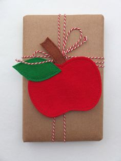 apple gift wrap  ~  I love anything with apples on it, so this package is right up my alley