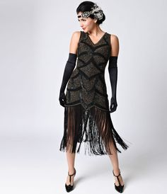 Preorder - Iconic by UV Black & Antique Gold Beaded Mesh Isadora Fringe Flapper Dress 1920s Fashion Dresses, 20s Dresses, Vintage Dresses, Vintage Fashion, Flapper Dresses For Sale, Party Dresses, Fringe Flapper Dress, Fringe Dress, Black Flapper Dress