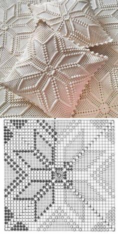 Crochet Bedspread Pattern, Granny Square Crochet Pattern, Crochet Diagram, Crochet Squares, Crochet Blanket Patterns, Crochet Motif, Crochet Designs, Crochet Doilies, Filet Crochet