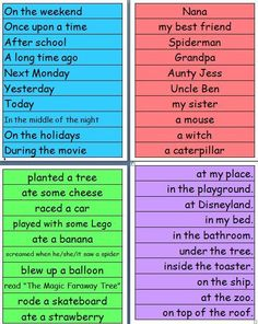 You simply post this up on the board and students must create a story using one phrase from each color. This is fun and challenging!