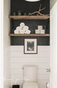 How to decorate shelves above the toilet! I know decorating shelves above the toilet can be a little bit tricky, but I'm absolutely loving how our little area came together. I shopped the house &. Bad Inspiration, Bathroom Inspiration, Toilet Closet, Small Toilet Room, Toilet Room Decor, Guest Toilet, Guest Bath, Guest Room, Downstairs Bathroom