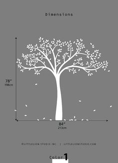 Tree Wall Decal  Monochromatic Fall Tree Extended by LeoLittleLion, $84.00