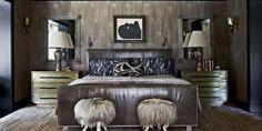 Luxury Bedroom Ideas - Interior design by Kelly Wearstler - Top interior designers - art deco - glamorous bedrooms - luxury beds Home Decor Bedroom, Bedroom Furniture, Diy Home Decor, Bedroom Stools, Bedroom Ideas, Bedroom Art, Bedroom Inspiration, Bedroom Mirrors, Warm Bedroom