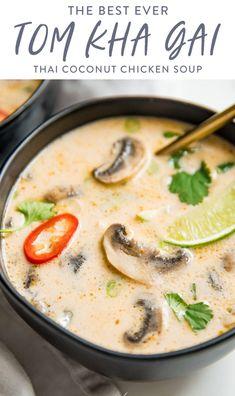 Thai Coconut Chicken, Thai Coconut Soup, Thai Soup, Coconut Curry Chicken Soup, Paleo Recipes, Asian Recipes, Dinner Recipes, Cooking Recipes, Coconut Soup Recipes