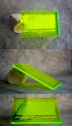 Green plexiglass plastic business card, etched with laser technology. Fluo ultra thick 3 mm, transparent thickness 2 mm.
