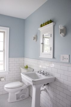 Love the tiles, and half/half design (we have this in our current bathroom but more 2/3 1/3