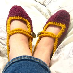 Crochet Harry Potter Slippers -- Gryffindor Mary Jane with Crest Button size 8-10